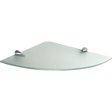 Dolle 12in. Radius Frosted Corner Shelf Kit with 2 Silver Clips