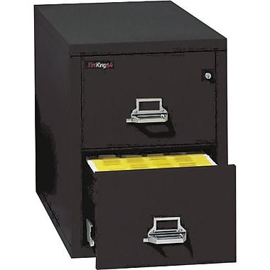 FireKing 2 Drawer Fire Resistant Vertical File, Black,Letter, 17.69''W (21831CBLI)