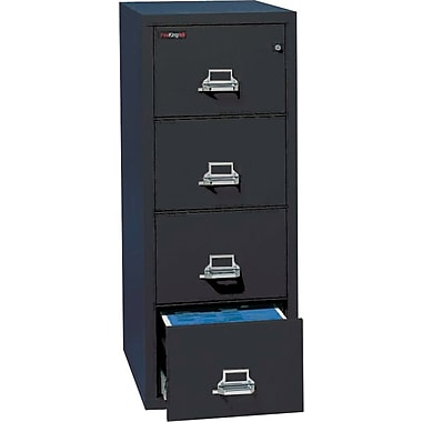 FireKing 1-Hour 4-Drawer 25in. Letter Fire Resistant Vertical Cabinet, Black, Inside Delivery