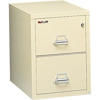 FireKing 1-Hour 2-Drawer 25in. Letter-Size  Fire Resistant Vertical Cabinet Parchment, Inside Delivery