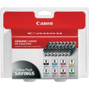 Canon CLI-8 Black and C/M/Y/PC/PM/R/G Color Ink Cartridges (0620B015), Combo 8/Pack