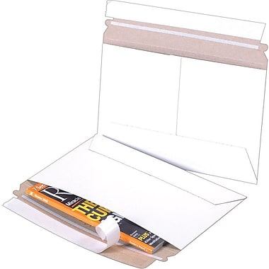 Staples® QuickStrip Side-Opening StayFlat® White Mailers, 9in. x 6in.