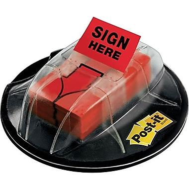 Post-it® 1in. Red in.Sign Herein. Flags with Pop-Up Dispenser, 200 Flags