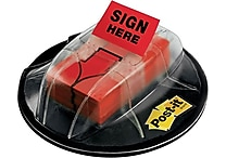 Post-it® 1' 'Sign Here' Message Flags, Red, 200 Flags/Desk Grip Dispenser (680-HVSHR)
