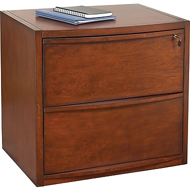 Staples® Deluxe Wood Lateral File Cabinet, 2-Drawer, Cherry