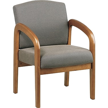 Office Star Wood Guest Chair, Medium Oak Finish Wood with Taupe Fabric
