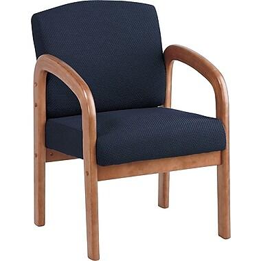 Office Star Wood Guest Chair, Medium Oak Finish Wood with Midnight Blue Fabric