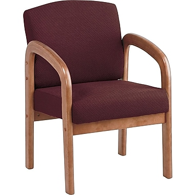 Office Star Wood Guest Chair, Medium Oak Finish Wood with Ruby Fabric