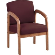 Office Star™ Wood Guest Chair, Medium Oak Finish Wood with Ruby Fabric