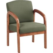 Office Star™ Wood Guest Chair, Medium Oak Finish Wood with Moss Fabric