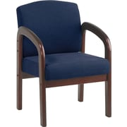 Office Star WD383-317 Guest Chair, Midnight Blue/Mahogany