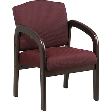 Office Star  Wood Guest Chair, Mahogany Finish Wood with Ruby Fabric