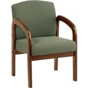 Office Star™  Wood Guest Chair, Mahogany Finish Wood with Moss Fabric