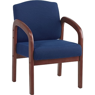 Office Star  Wood Guest Chair, Cherry Finish Wood with Midnight Blue Fabric
