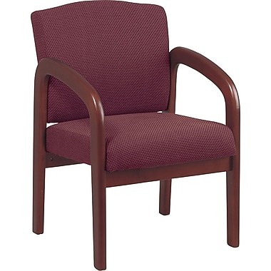 Office Star Wood Guest Chair, Cherry Finish Wood with Ruby Fabric