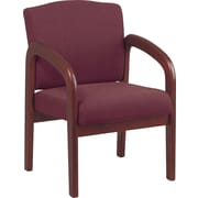 Office Star™ Wood Guest Chair, Cherry Finish Wood with Ruby Fabric