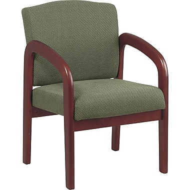 Office Star Wood Guest Chair, Cherry Finish Wood with Moss Fabric