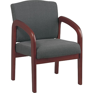 Office Star Wood Guest Chair, Cherry Finish Wood with Graphite Fabric