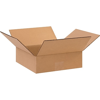 10in.(L) x 10in.(W) x 3in.(H) - Staples Corrugated Shipping Boxes, 25/Bundle