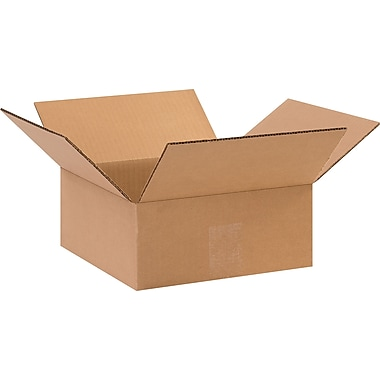 10in.(L) x 10in.(W) x 4in.(H) - Staples Corrugated Shipping Boxes, 25/Bundle