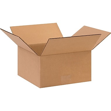 10in.(L) x 10in.(W) x 5in.(H) - Staples Corrugated Shipping Boxes, 25/Bundle