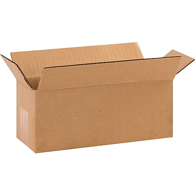10in.(L) x 4in.(W) x 4in.(H) - Staples Corrugated Shipping Boxes, 25/Bundle