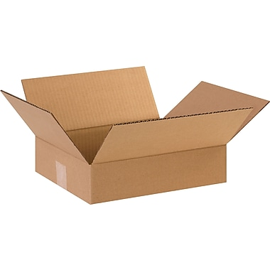 12in.(L) x 10in.(W) x 3in.(H) - Staples Corrugated Shipping Boxes, 25/Bundle