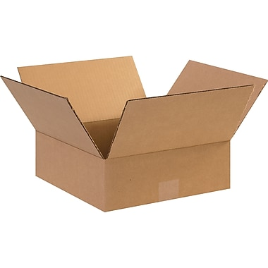 12in.(L) x 12in.(W) x 4in.(H) - Staples Corrugated Shipping Boxes, 25/Bundle