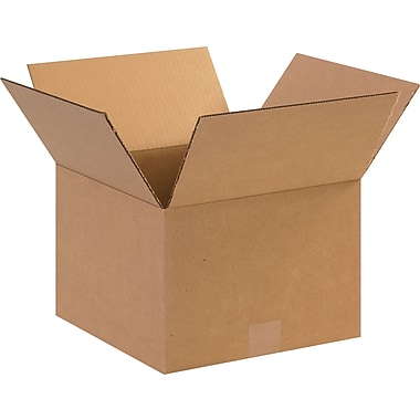 12in.(L) x 12in.(W) x 8in.(H)- Staples Corrugated Shipping Boxes, 25/Bundle