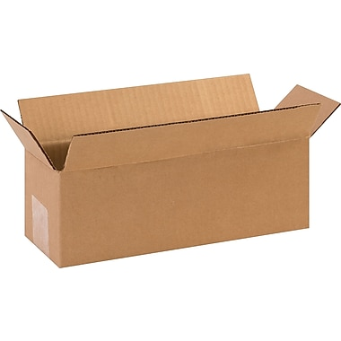 12in.(L) x 4in.(W) x 4in.(H) - Staples Corrugated Shipping Boxes, 25/Bundle
