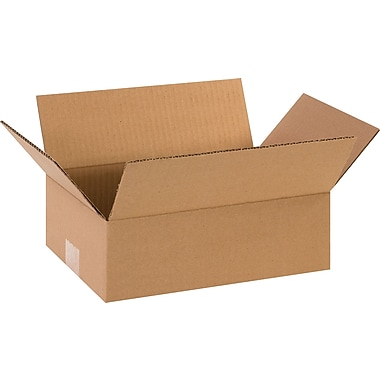 12in.(L) x 8in.(W) x 4in.(H)- Staples Corrugated Shipping Boxes, 25/Bundle