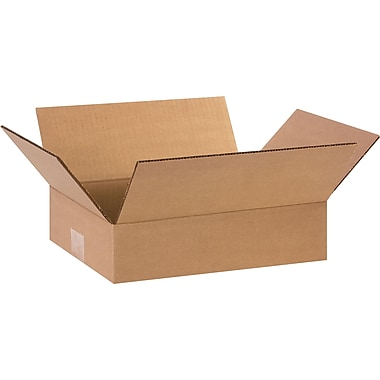 12in.(L) x 9in.(W) x 3in.(H) - Staples Corrugated Shipping Boxes, 25/Bundle