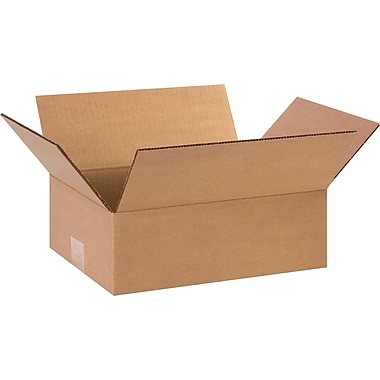 12in.(L) x 9in.(W) x 4in.(H) - Staples Corrugated Shipping Boxes, 25/Bundle