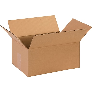 13in.(L) x 9in.(W) x 6in.(H)- Staples Corrugated Shipping Boxes, 25/Bundle