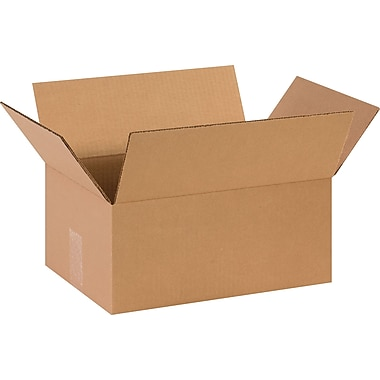 14in.(L) x 10in.(W) x 6in.(H)- Staples Corrugated Shipping Boxes, 25/Bundle