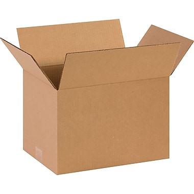 14in.(L) x 10in.(W) x 9in.(H)- Staples Corrugated Shipping Boxes, 25/Bundle