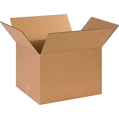 14in.(L) x 12in.(W) x 10in.(H)- Staples Corrugated Shipping Boxes, 25/Bundle