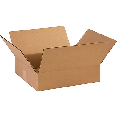14-3/8in.(L) x 12-1/2in.(W) x 3-1/2in.(H)- Staples Corrugated Shipping Boxes, 25/Bundle