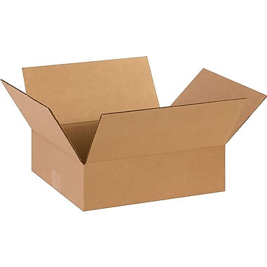 14in.(L) x 12in.(W) x 4in.(H)- Staples Corrugated Shipping Boxes, 25/Bundle