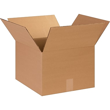 14in.(L) x 14in.(W) x 5in.(H) - Staples® Corrugated Shipping Boxes, 25/Bundle