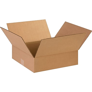 14in.(L) x 14in.(W) x 4in.(H)- Staples Corrugated Shipping Boxes, 25/Bundle