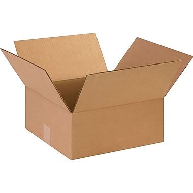 14in.(L) x 14in.(W) x 6in.(H)- Staples Corrugated Shipping Boxes, 25/Bundle