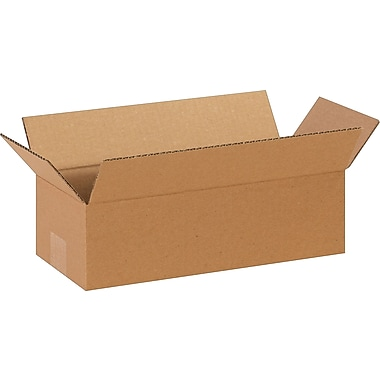 14in.(L) x 6in.(W) x 4in.(H)- Staples Corrugated Shipping Boxes, 25/Bundle