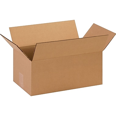 14in.(L) x 8in.(W) x 6in.(H)- Staples Corrugated Shipping Boxes, 25/Bundle
