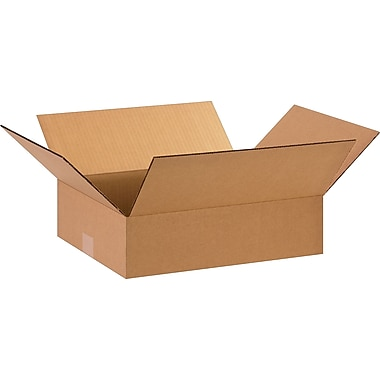 15in.(L) x 12in.(W) x 4in.(H)- Staples Corrugated Shipping Boxes, 25/Bundle
