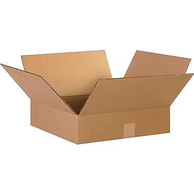 15in.(L) x 15in.(W) x 4in.(H)- Staples Corrugated Shipping Boxes, 25/Bundle