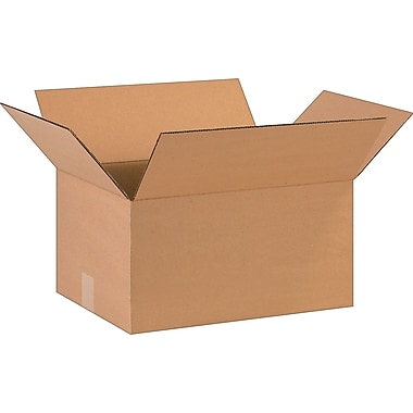 16in.(L) x 12in.(W) x 8in.(H)- Staples Corrugated Shipping Boxes, 25/Bundle