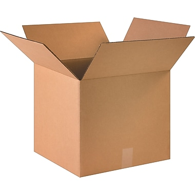 16in.(L) x 14in.(W) x 4in.(H) - Staples® Corrugated Shipping Boxes, 25/Bundle