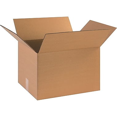 18in.(L) x 14in.(W) x 12in.(H)- Staples Corrugated Shipping Boxes, 25/Bundle