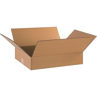 18in.(L) x 14in.(W) x 4in.(H)- Staples Corrugated Shipping Boxes, 25/Bundle